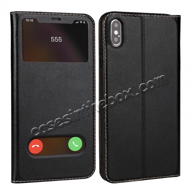 wholesale For iPhone X/XS/XS MAX Stand Windows Genuine Leather Flip Case Cover - Black