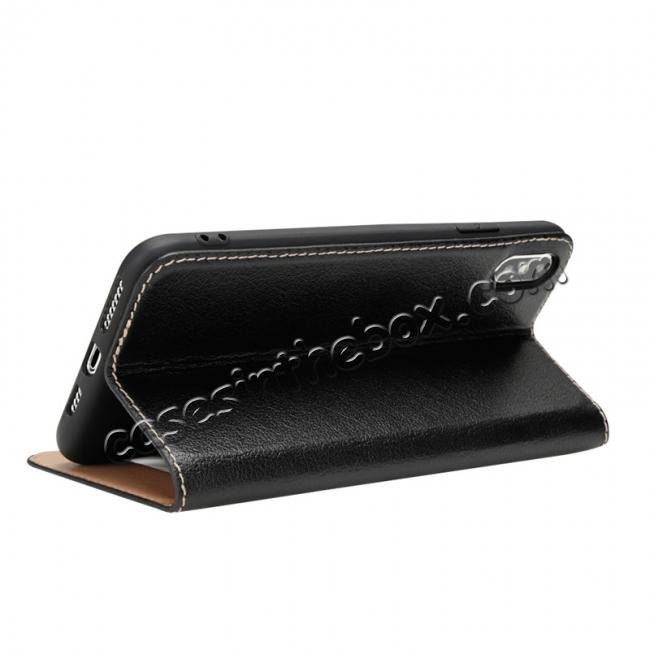 discount For iPhone X/XS/XS MAX Stand Windows Genuine Leather Flip Case Cover - Black