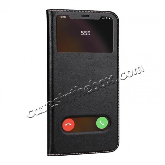 cheap For iPhone X/XS/XS MAX Stand Windows Genuine Leather Flip Case Cover - Black