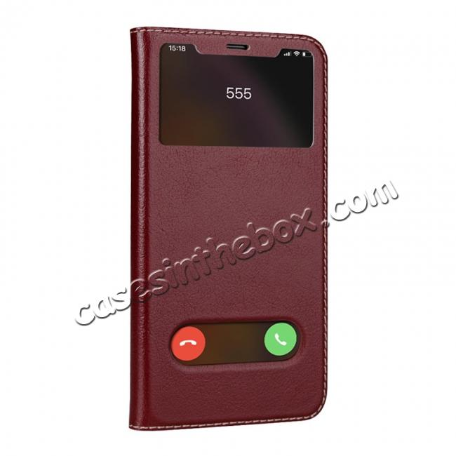 discount For iPhone X/XS/XS MAX Stand Windows Genuine Leather Flip Case Cover - Wine Red