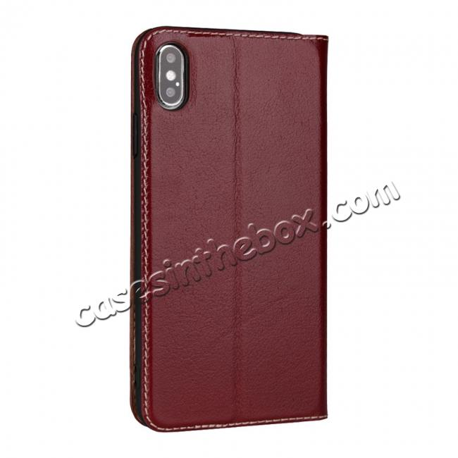 cheap For iPhone X/XS/XS MAX Stand Windows Genuine Leather Flip Case Cover - Wine Red