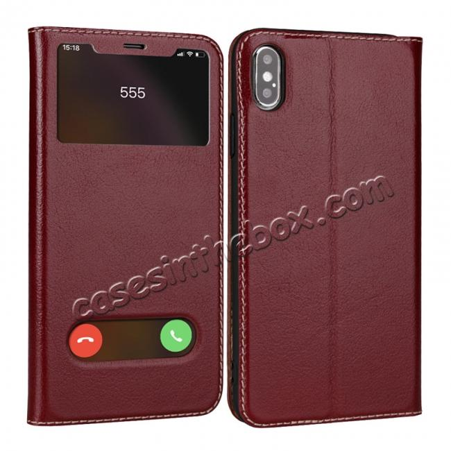 wholesale For iPhone X/XS/XS MAX Stand Windows Genuine Leather Flip Case Cover - Wine Red