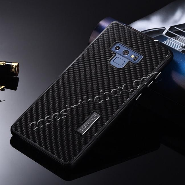 discount For Samsung Galaxy Note 9 Carbon Fiber Shockproof Metal Aluminum Case Back Cover - Black