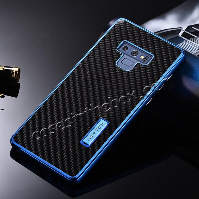cheap For Samsung Galaxy Note 9 Carbon Fiber Shockproof Metal Aluminum Case Back Cover - Blue