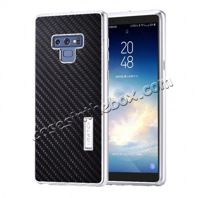 wholesale For Samsung Galaxy Note 9 Carbon Fiber Shockproof Metal Aluminum Case Back Cover - Silver
