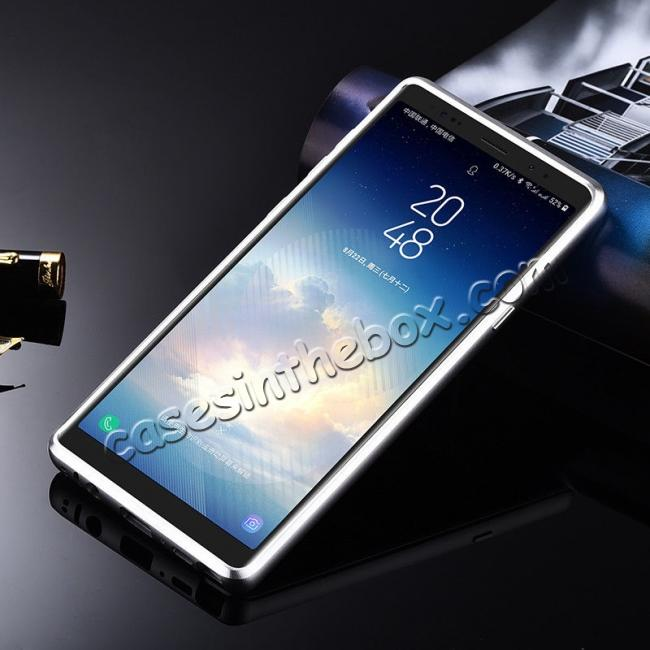 discount For Samsung Galaxy Note 9 Carbon Fiber Shockproof Metal Aluminum Case Back Cover - Silver