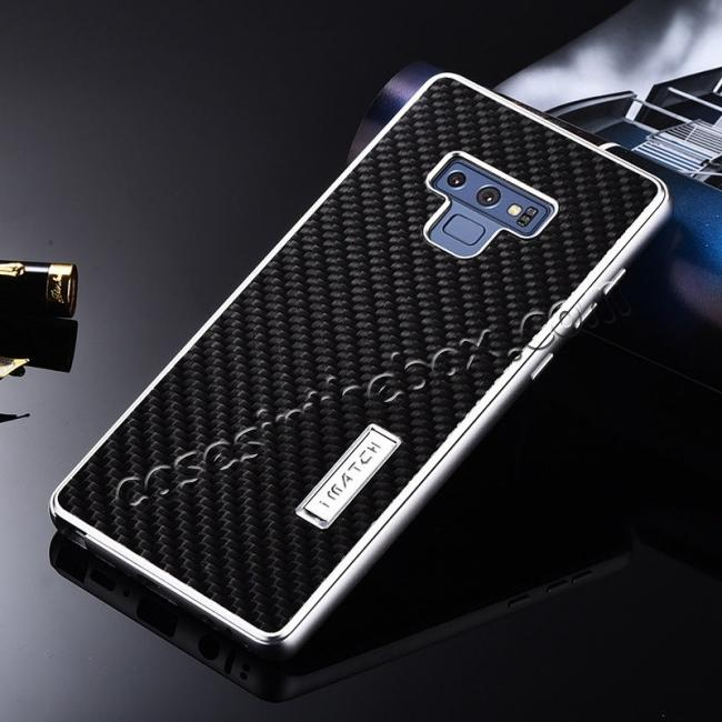 cheap For Samsung Galaxy Note 9 Carbon Fiber Shockproof Metal Aluminum Case Back Cover - Silver