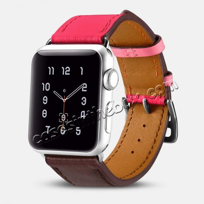 wholesale i-Carer For Apple Watch Band 44mm / 42mm Cow Genuine Leather Strap Series 4 3 2 1 - Rose Red + coffee