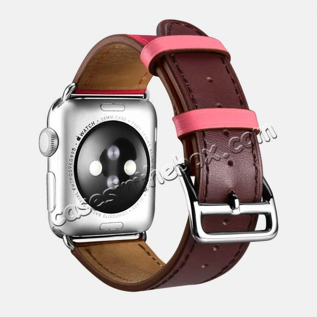 discount i-Carer For Apple Watch Band 44mm / 42mm Cow Genuine Leather Strap Series 4 3 2 1 - Rose Red + coffee