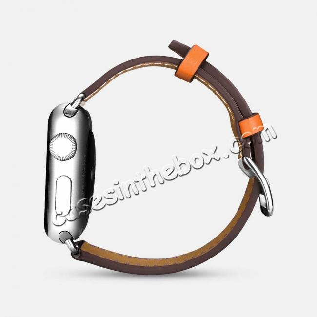 cheap i-Carer For Apple Watch Band 44mm / 42mm Cow Genuine Leather Strap Series 4 3 2 1 - Rose Red + coffee