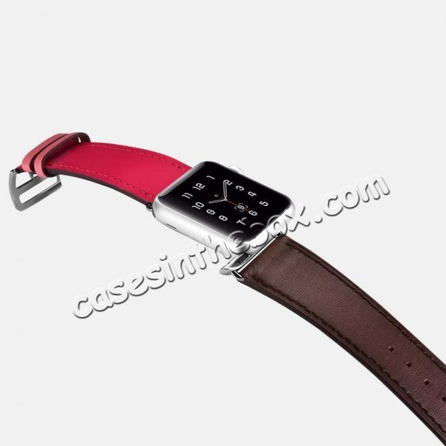 top quality i-Carer For Apple Watch Band 44mm / 42mm Cow Genuine Leather Strap Series 4 3 2 1 - Rose Red + coffee