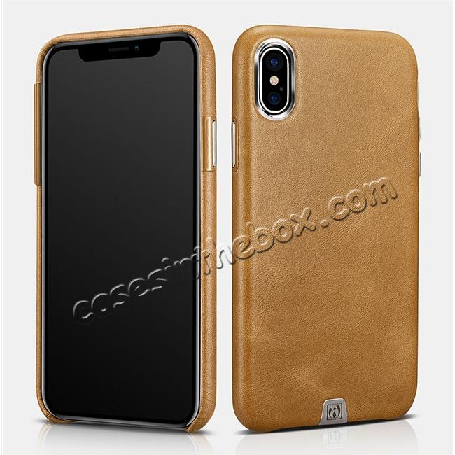 wholesale ICARER Genuine Leather Back Case Cover for iPhone XS - Khaki
