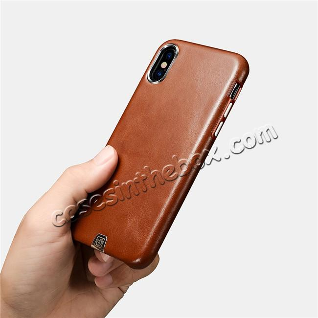 top quality ICARER Genuine Leather Back Case Cover for iPhone XS - Khaki