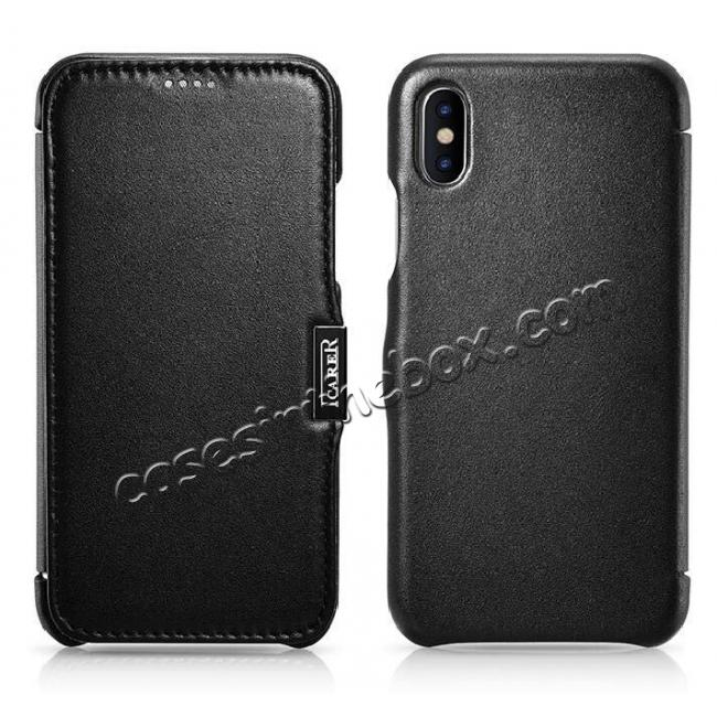 discount ICARER Luxury Series Genuine Leather Folio Flip Case Cover with Magnetic for iPhone XS Max - Black