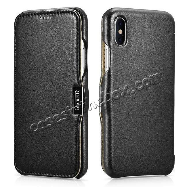 wholesale ICARER Luxury Series Genuine Leather Folio Flip Case Cover with Magnetic for iPhone XS Max - Black