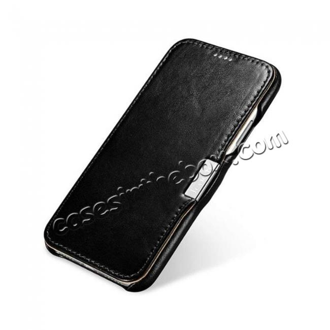 cheap ICARER Vintage Series Genuine Leather Folio Flip Shockproof Case Cover for iPhone XS Max - Black