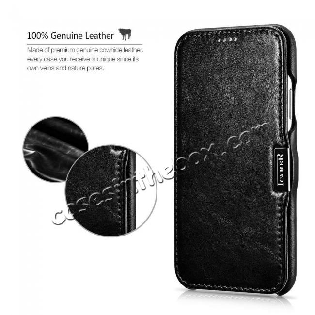 top quality ICARER Vintage Series Genuine Leather Folio Flip Shockproof Case Cover for iPhone XS Max - Black