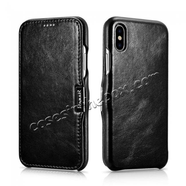 wholesale ICARER Vintage Series Genuine Leather Folio Flip Shockproof Case Cover for iPhone XS Max - Black