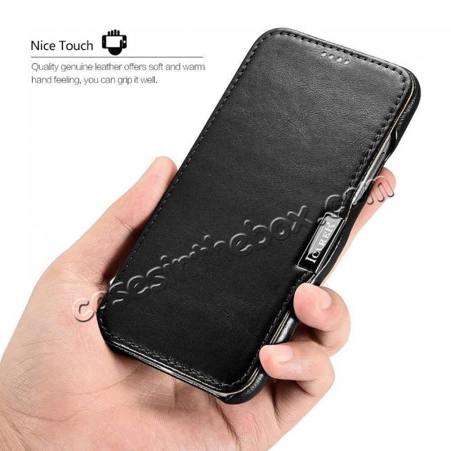 high quanlity ICARER Vintage Series Genuine Leather Folio Flip Shockproof Case Cover for iPhone XS Max - Black