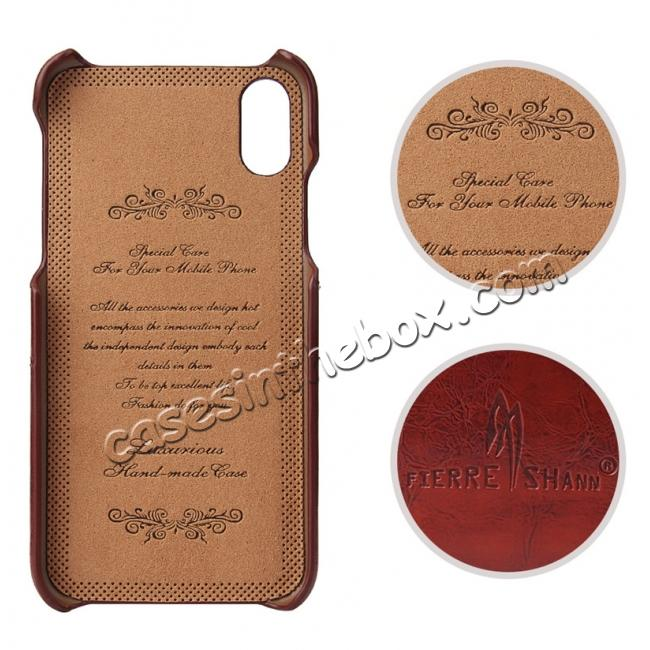 discount Oil Wax Style Insert Card Leather Back Case Cover for iPhone XS - Brown