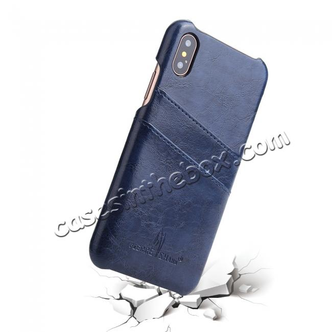 top quality Oil Wax Style Insert Card Leather Back Case Cover for iPhone XS - Dark Blue
