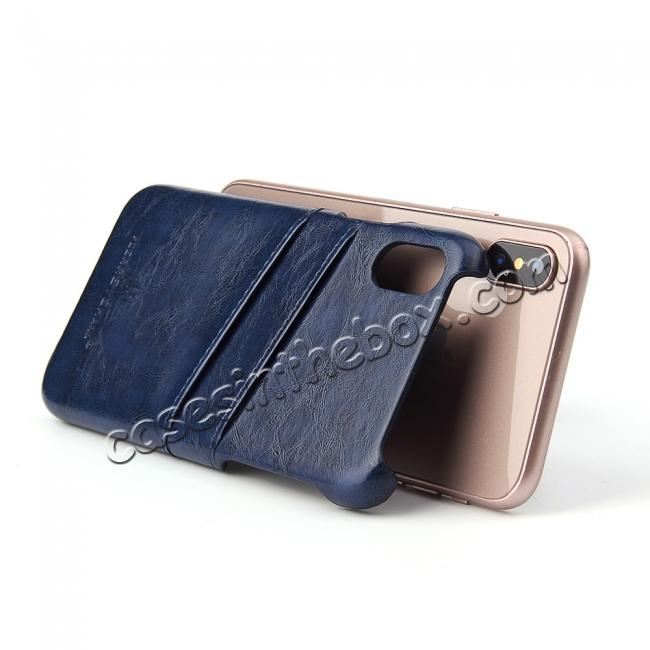 best price Oil Wax Style Insert Card Leather Back Case Cover for iPhone XS - Dark Blue