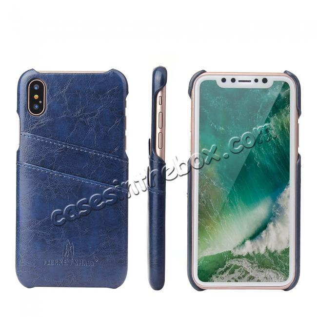 wholesale Oil Wax Style Insert Card Leather Back Case Cover for iPhone XS - Dark Blue