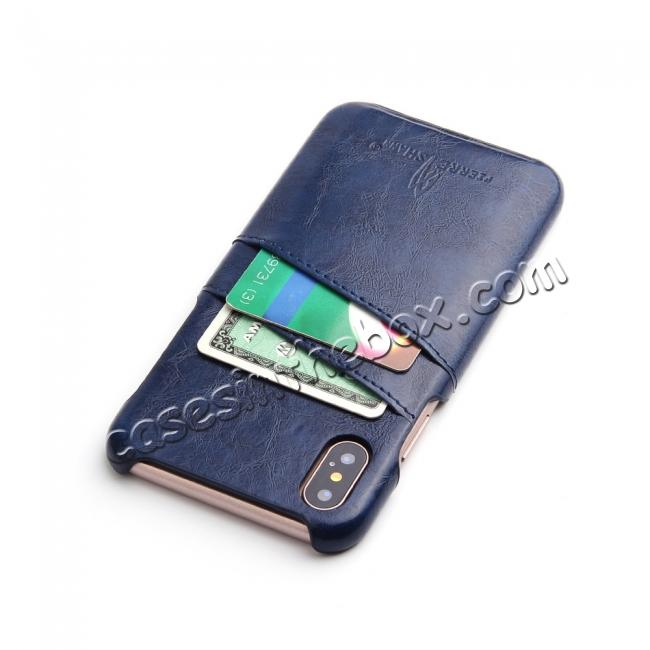 cheap Oil Wax Style Insert Card Leather Back Case Cover for iPhone XS - Dark Blue