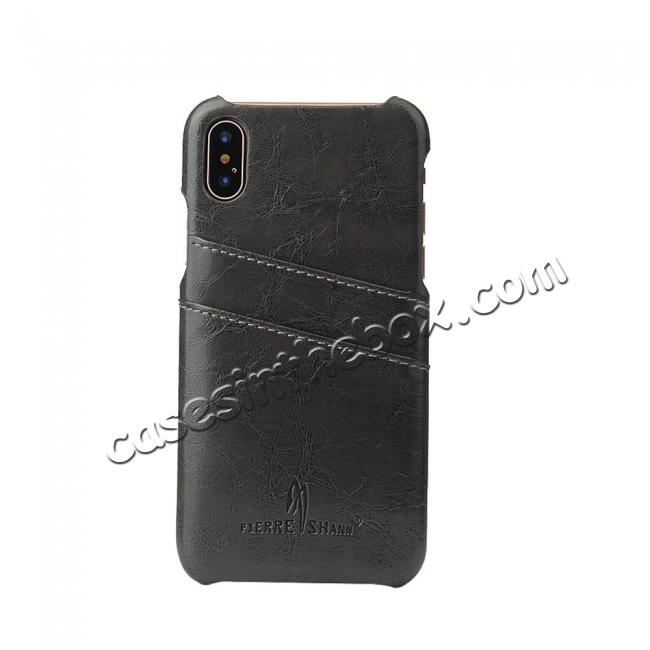 on sale Oil Wax Style Insert Card Leather Back Case Cover for iPhone XS - Dark Grey