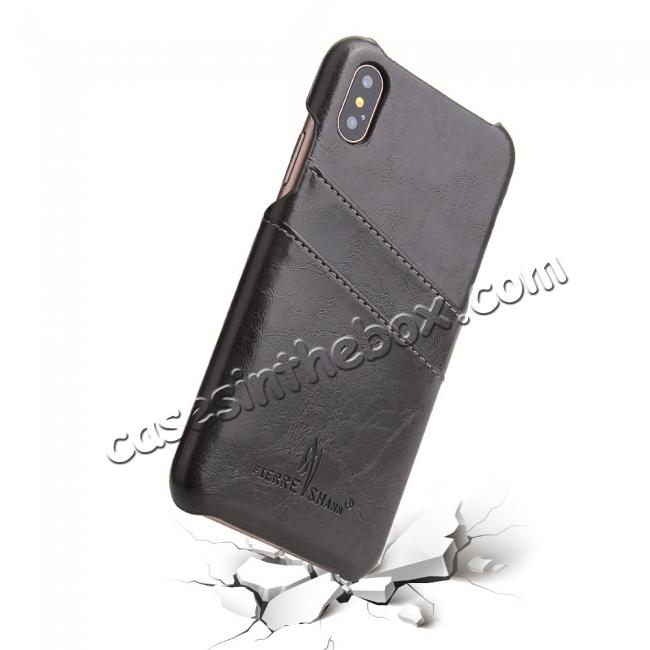 top quality Oil Wax Style Insert Card Leather Back Case Cover for iPhone XS - Dark Grey