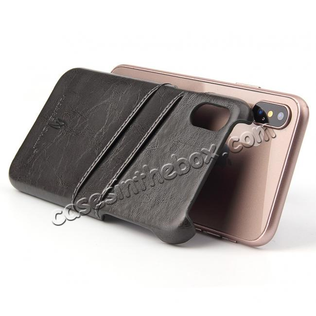 best price Oil Wax Style Insert Card Leather Back Case Cover for iPhone XS - Dark Grey