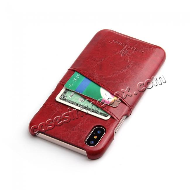 cheap Oil Wax Style Insert Card Leather Back Case Cover for iPhone XS - Red