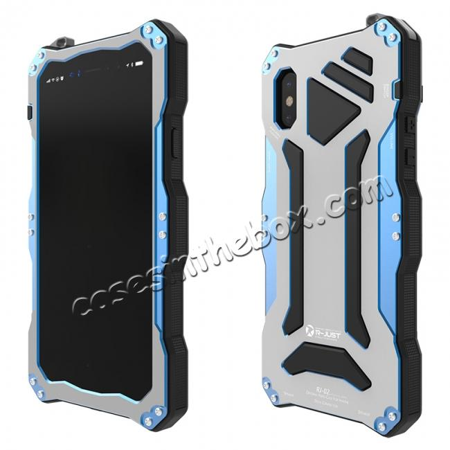 discount R-Just 3-Proof Aluminium Metal Tempered Glass Case for iPhone XR - Blue