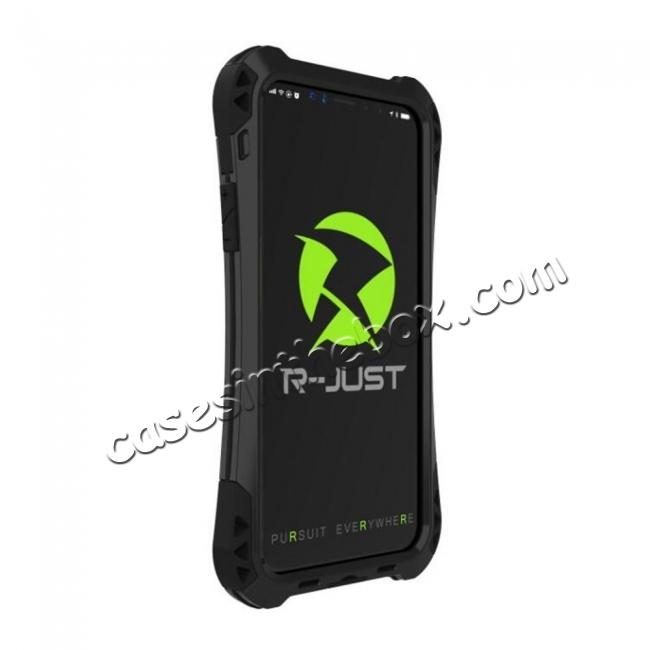 discount Shockproof DropProof DirtProof Carbon Fiber Metal Gorilla Glass Armor Case for iPhone XR - Black
