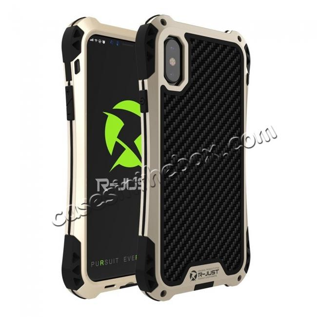 wholesale Shockproof DropProof DirtProof Carbon Fiber Metal Gorilla Glass Armor Case for iPhone XR - Gold&Black