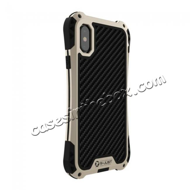 discount Shockproof DropProof DirtProof Carbon Fiber Metal Gorilla Glass Armor Case for iPhone XR - Gold&Black