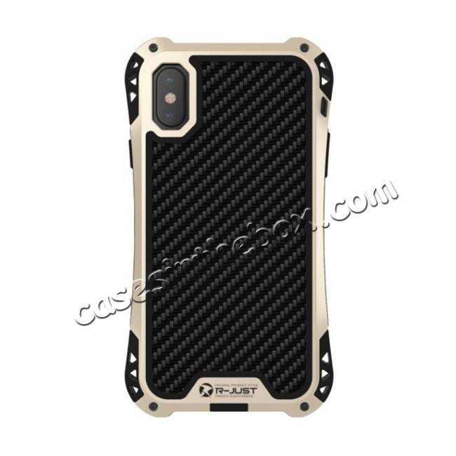 top quality Shockproof DropProof DirtProof Carbon Fiber Metal Gorilla Glass Armor Case for iPhone XR - Gold&Black