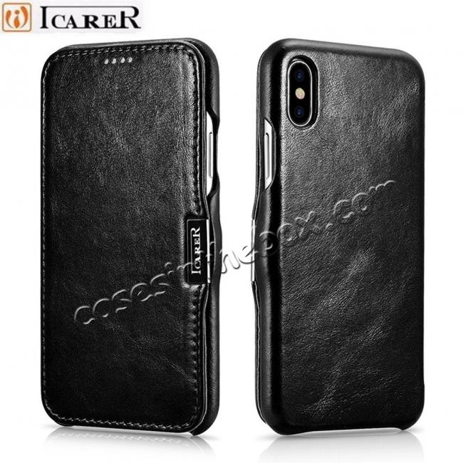 cheap Luxury ICARER Vintage Series Cowhide Genuine Leather Wallet Case For iPhone Xs Max XR X XS 6 7 8