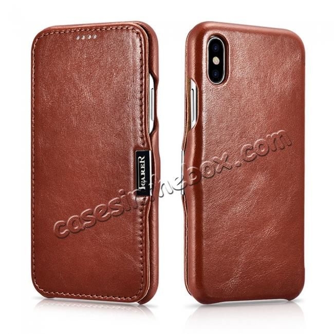 discount Luxury ICARER Vintage Series Cowhide Genuine Leather Wallet Case For iPhone Xs Max XR X XS 6 7 8