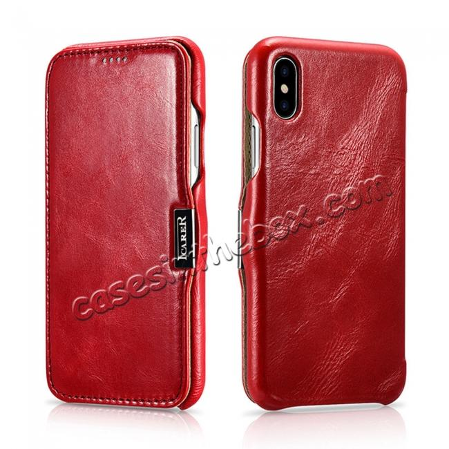 best price Luxury ICARER Vintage Series Cowhide Genuine Leather Wallet Case For iPhone Xs Max XR X XS 6 7 8