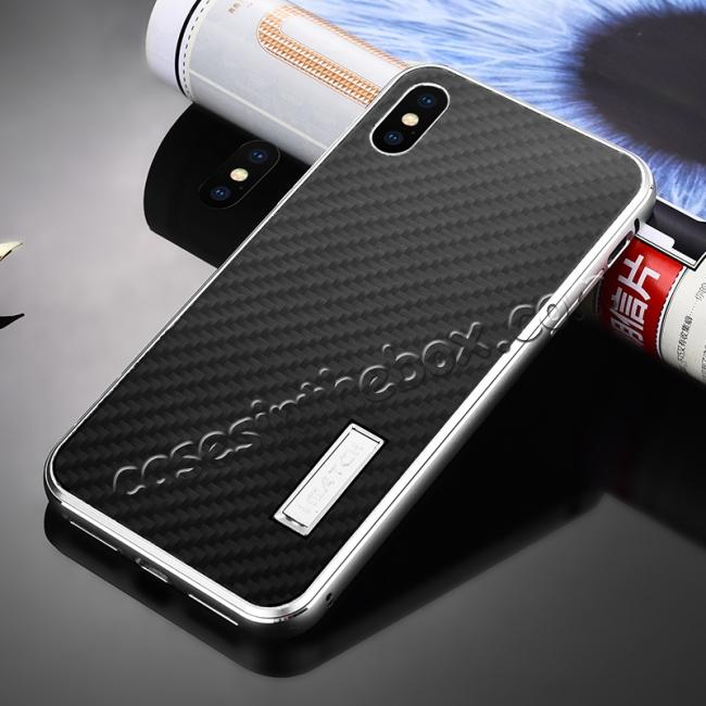 discount Aluminium Metal Carbon Fiber Case For iPhone XS Max - Silver&Black