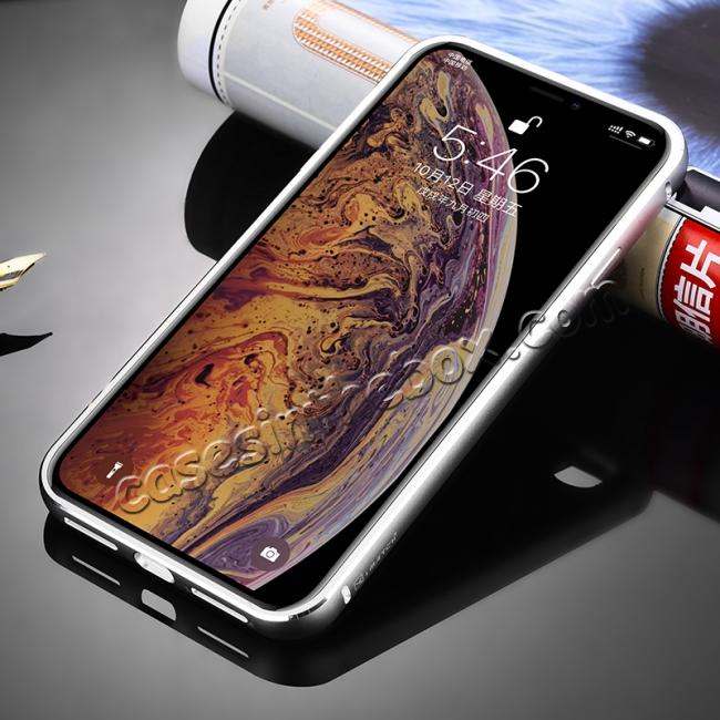 cheap Aluminium Metal Carbon Fiber Case For iPhone XS Max - Silver&Black
