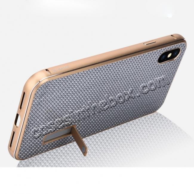 top quality Aluminium Metal Carbon Fiber Case For iPhone XS Max - Silver&Black