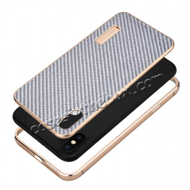 best price Aluminium Metal Carbon Fiber Case For iPhone XS Max - Silver&Black