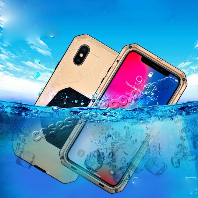 best price Waterproof Shockproof Aluminum Gorilla Glass Case for iPhone XS - Silver