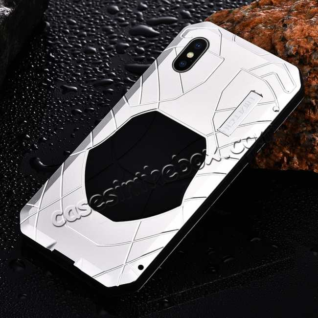 cheap Waterproof Shockproof Aluminum Gorilla Glass Case for iPhone XS - Silver