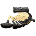 32 PCS Professional Makeup Brush Cosmetic Beauty Make up Brush set+ Black Pouch Bag Leather Case - Wood Color