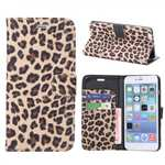 Leopard Skin Leather Folio Stand Wallet Case for iPhone 6 Plus/6S Plus 5.5 Inch with Card Slot - Dark Brown