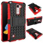 Rugged Armor Dual Layer Hybrid Kickstand Protective Case for LG Stylo 2 PLUS MS550 - Red