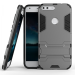 Hybrid Armor Defender Kickstand Protective Cover Case For Google Pixel XL 5.5inch - Gray